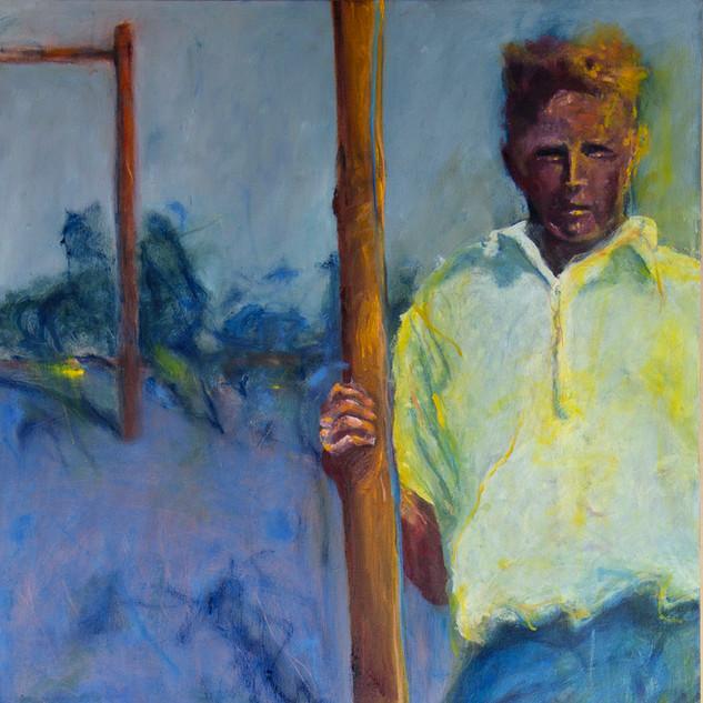 Jane Giblin_The 1920s high jumper, Emita in the Furneaux, oil on canvas, 100cm x 51cm, 2020