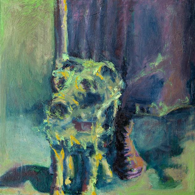 Jane Giblin_Lily's fluffy dog, oil on canvas, 30cm x 30cm, 2020