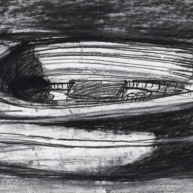 Gerry's motor boat at Badger Corner, Flinders Island, pastel and pencil on unicartridge, 44cm x 122cm, 2018