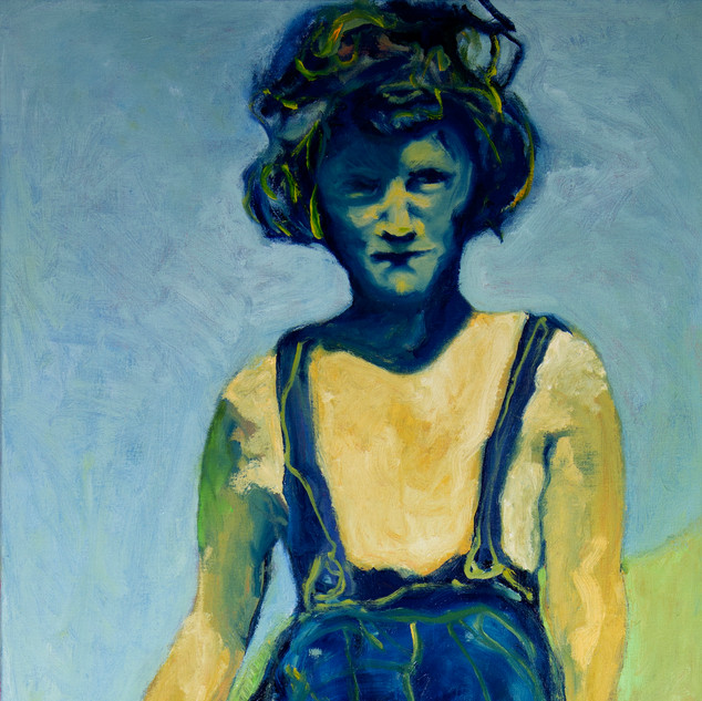 Jane Giblin_Great Aunty Doreen in Franklin Sound, oil on canvas, 112cm x 51cm, 2020