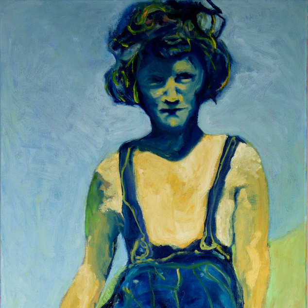 Jane Giblin_Great Aunty Doreen in Franklin Sound, oil on canvas, 112cm x 51cm, 2020