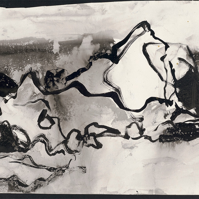 The NE River rocks ink and sand work, 40cm x 63cm, ink, sand and seawater on unicardtridge, 2019