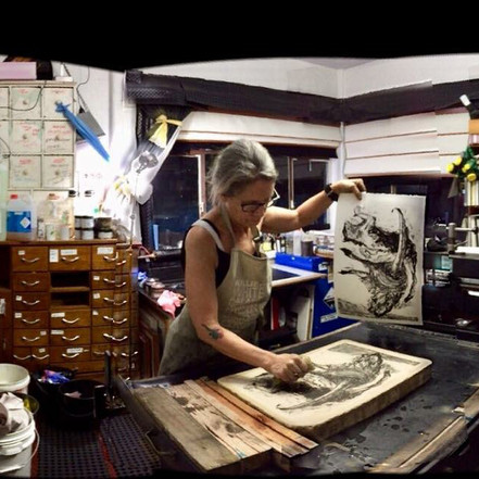 In my lithography studio working on the Cat Wallaby