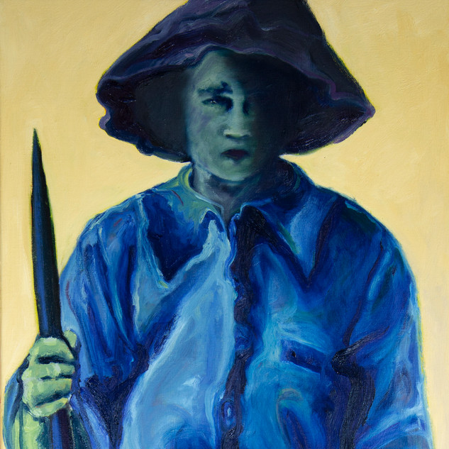 Jane Giblin_Great Great Aunty Mildred Liilian, in Franklin Sound, oil on canvas, 112cm x 51cm, 2020
