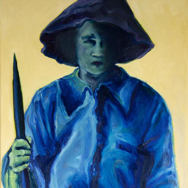 Jane Giblin_Great Great Aunty Mildred Liilian, in Franklin Sound, oil on canvas, 112cm x 51cm, 2020