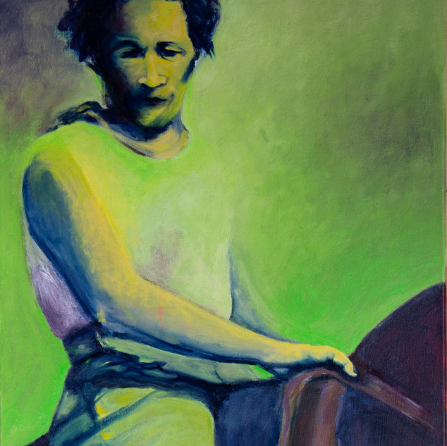 Jane Giblin_My Grandmother, Molly Willis, in Franklin Sound, oil on canvas, 112cm x 51cm, 2020