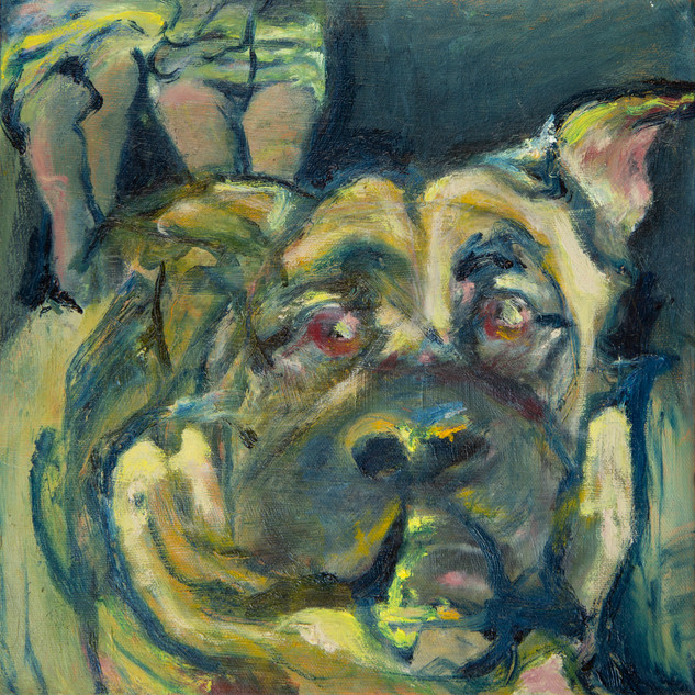 Anxious on Big Dog, oil on canvas, 2020