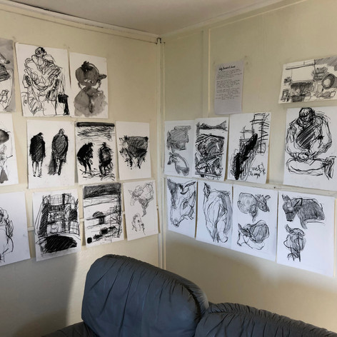 Drawings poetry in the Mololo living room
