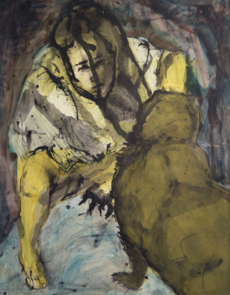 Jane Giblin, Squat In Yellow 150cm x 120