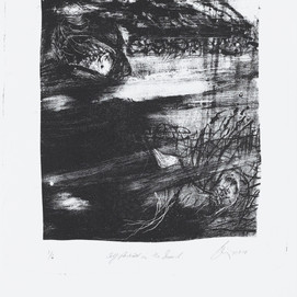 JaneGiblin_Self Portrait in the Sound, framed lithograph, 24.5cm x 20cm, 2018