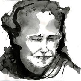 Nina Giblinwright was raised on mutton-bird, ink and wash on unicartridge, 41.5cm x 50cm, 2020