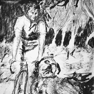 Furneaux Joan on a bike, 1930s, Lady Barron, lithograph 2019