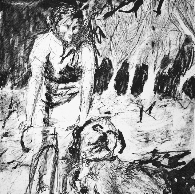 Furneaux Joan on a bike, 1930s, Lady Barron, lithograph 2019