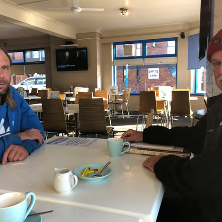 Dingo Lowery and Pete Hay in a Burnie pub
