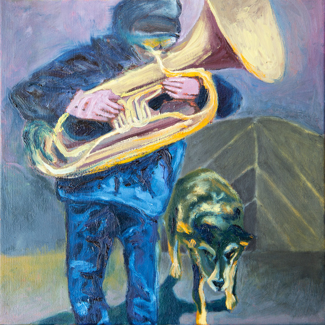 Jane Giblin_The Riga Musician, oil on canvas, 30cm x 30cm, 2020