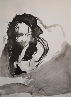 Izzie's Glee, 60cm x 45cm, ink and wash