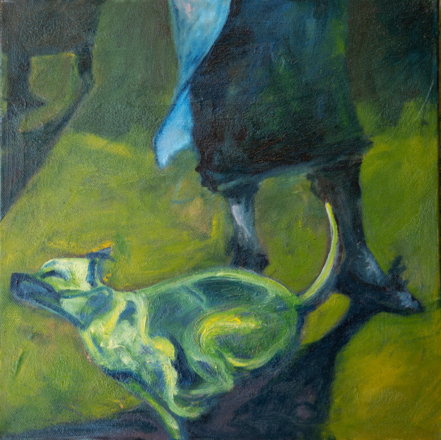 Jane Giblin_Molly and the dog, oil on canvas, 30cm x 30cm, 2020