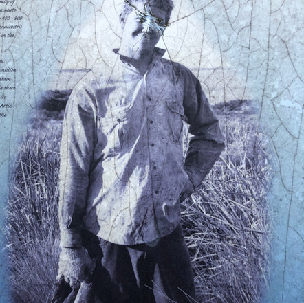 A vandelised interpretation panel. Timmy Maynard of Cape Barren Island.