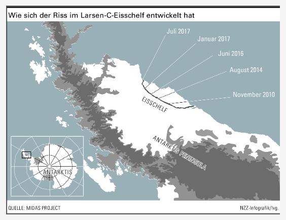 Jean Tournadre vom französischen Meeresforschungsinstitut in Brest hat untersucht, wie oft Eisberge im Südpolarmeer auftreten. Demnach schwankt ihre Häufigkeit stark, ebenso das Erscheinen besonders grosser Exemplare. Einen statistisch signifikanten Trend zur Vergrösserung des Eisvolumens, das von der vergletscherten Antarktis abbreche, könne man seit Beginn der Messdaten im Jahr 1992 nicht feststellen, sagt er auf Nachfrage. Die Wahrscheinlichkeit, dass Eisberge entstehen, hänge aber von Umweltbedingungen ab, auf die der Klimawandel einen Einfluss ausübe.