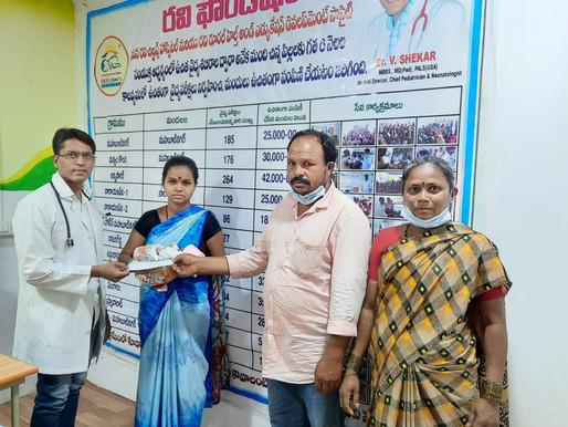 Financial aid of Rs. 30,000 provided for treatment of a new born infant