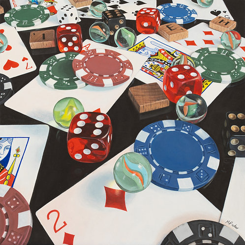 Games Night Hyperrealistic Acrylic Painting