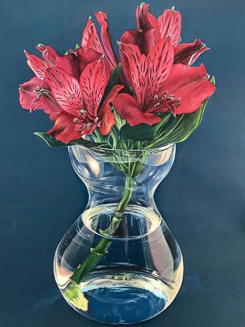 Hyperrealism original acrylic painting of beautiful red flowers, alstromeria in a glass vase