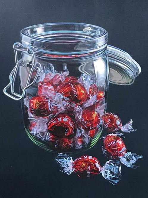 Hyperrealism acrylic painting of a glass jar of lindt lindor chocolate sweets