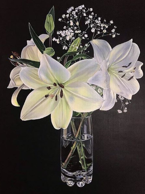 Limited edition Giclee print of beautiful flowers showing acrylic painting of white lilies and gypsophilia in a glass vase
