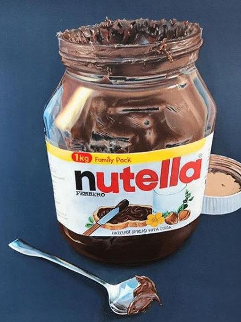 Hyperrealism acrylic painting of a glass jar of Ferrero Nutella chocolate hazelnut spread