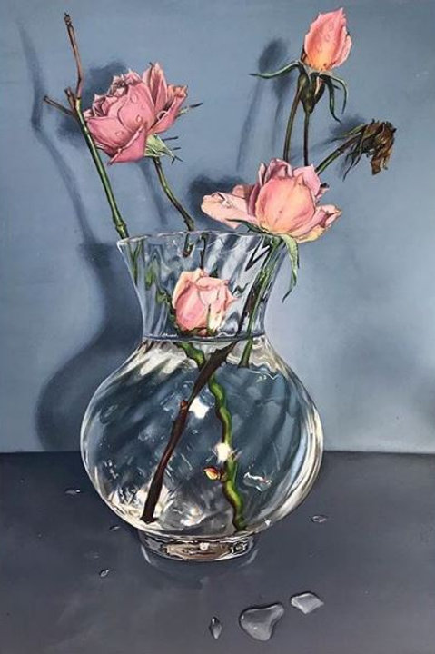 Photo-realism original artwork, an acrylic painting of pink rose buds and dying roses in a glass vase