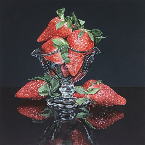 A Bowl of Strawberries Hyperrealistic Acrylic Painting