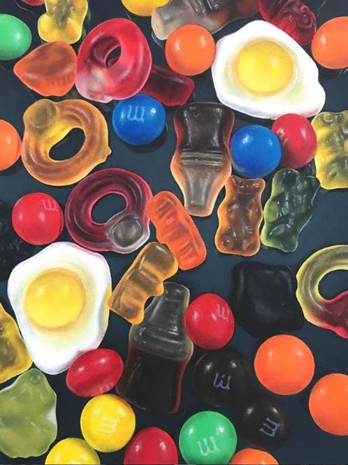 Giclee print of Hyperrealistic acrylic painting of colourful Haribos and M&M sweets