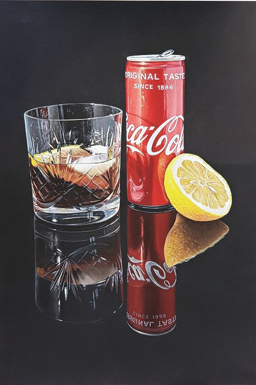 Coke and Lemon Hyperrealistic Acrylic Painting