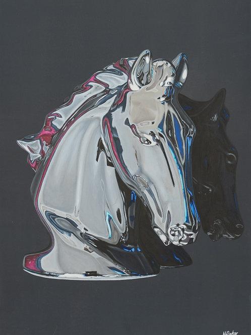 Chrome Horse Hyperrealistic Acrylic Painting
