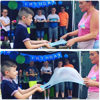 boys love a slime party too! #slimebubbl