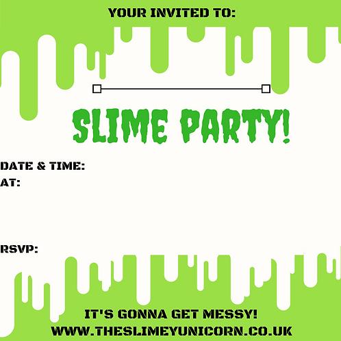 Boys slime party invitation