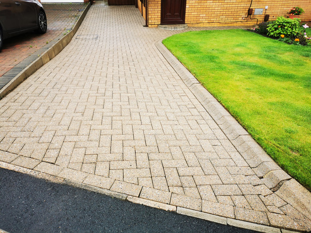 Block Paved Driveway Clean by pressure washing, softwash and followed by re-sanding