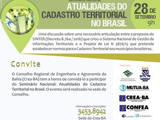 Seminário Nacional  Atualidades do Cadastro Territorial no Brasil