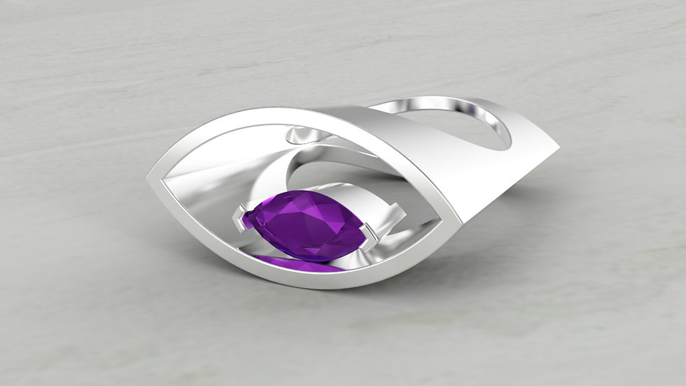 14k Marquise Shape Ring with Amethyst