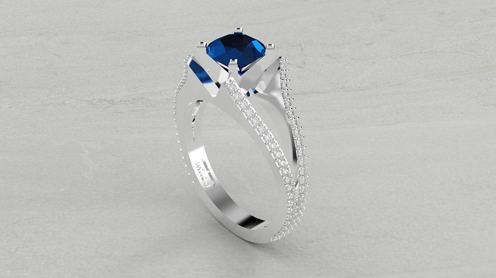 14K SPLIT SHANK BLUE SAPPHIRE AND 1/2 CTW DIAMOND ENGAGEMENT RING