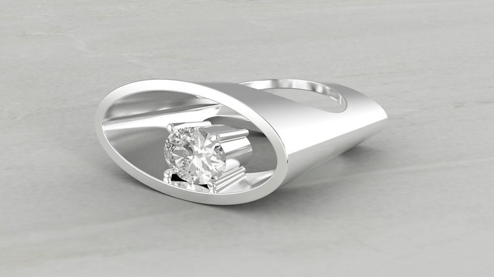 14k Oval Shape Ring with White Cubic Zirconia