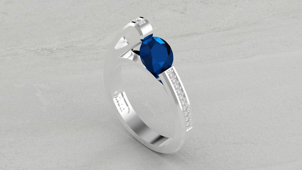 14K BLUE SAPPHIRE AND 1/5 CTW DIAMOND ENGAGEMENT RING