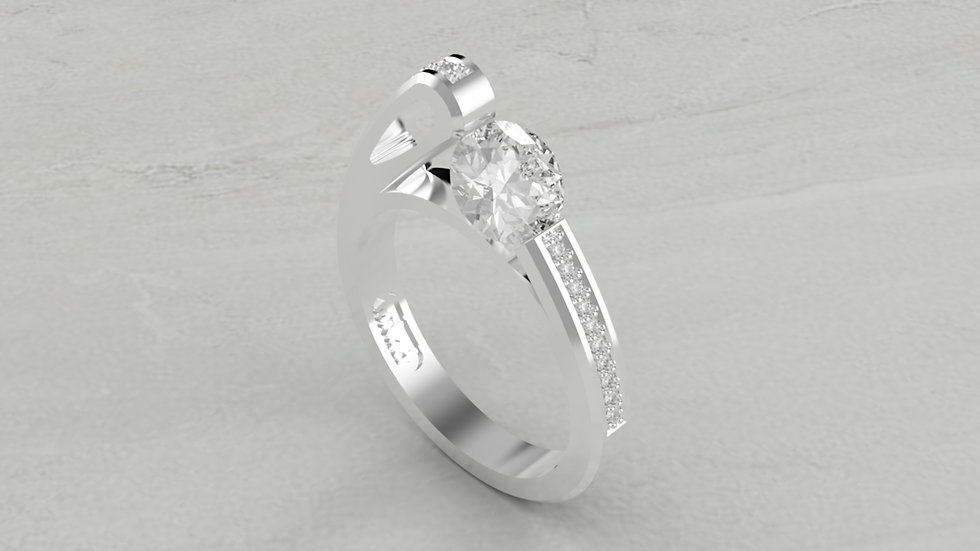 14K SEMI-MOUNT WITH 1/5 CTW DIAMOND ENGAGEMENT RING