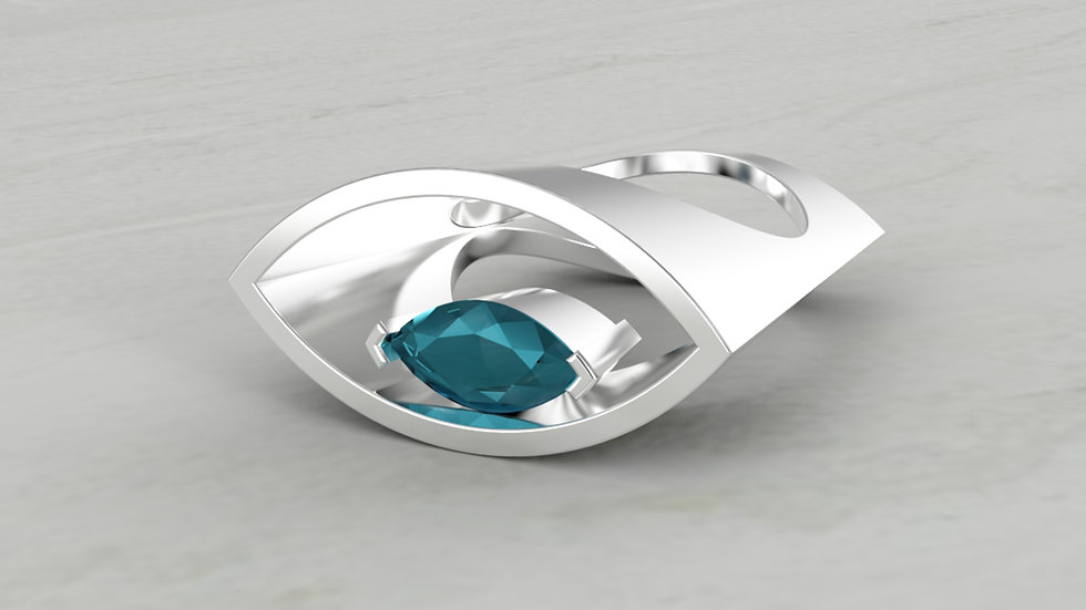 14k Marquise Shape Ring with London Blue Topaz