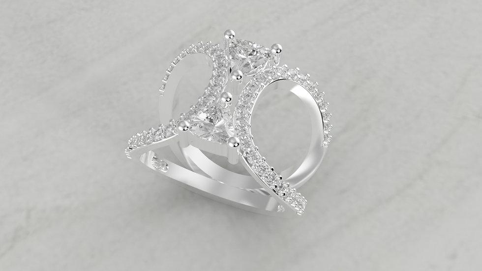 14K DOUBLE TRILLION 1/2 CTW DIAMOND SEMI-MOUNT ENGAGEMENT RING