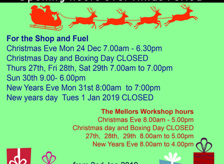 Mellors Garage opening hours 2018/19