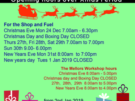 Mellors Garage opening hours 2018/19