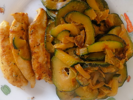 Poulet, courgettes, curry