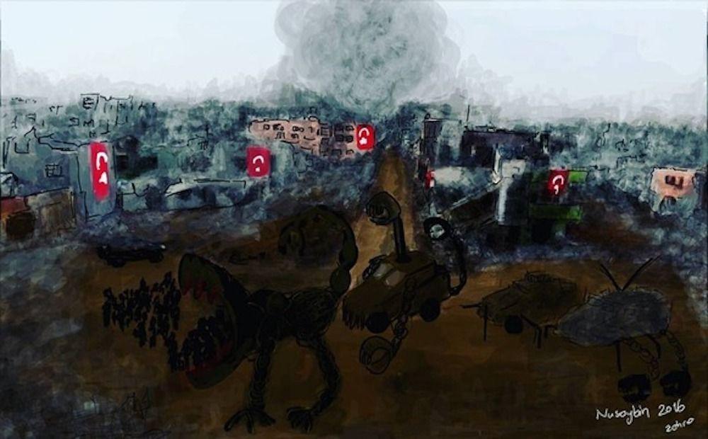 Por esta pintura, fue encarcelada Zehra Dogan.