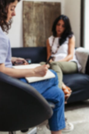 Psychotherapy session, woman talking to